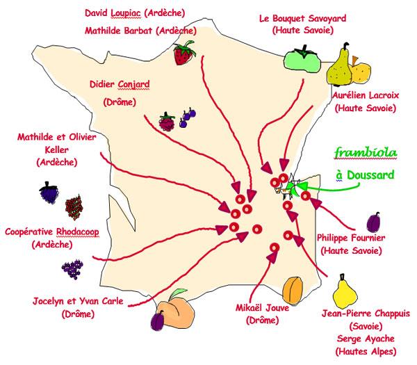 Carte des producteurs de fruits